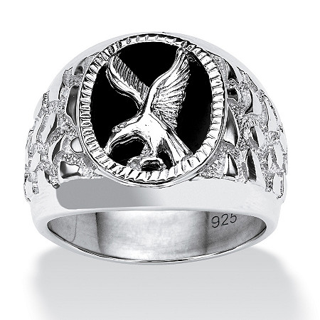 Men's Oval Shaped Genuine Onyx Sterling Silver Textured Eagle Ring