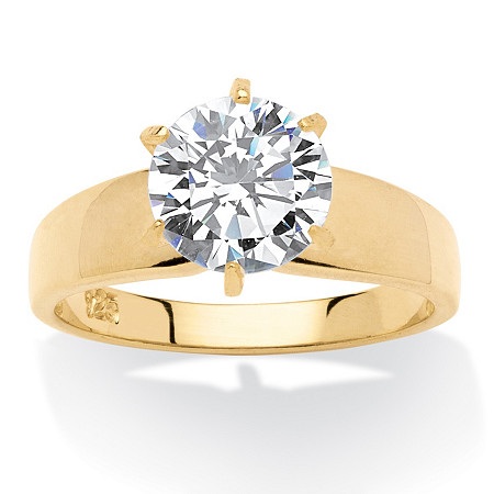 3-Carat Round Cubic Zirconia 18k Yellow Gold over Sterling Silver Solitaire Bridal Engagement Ring