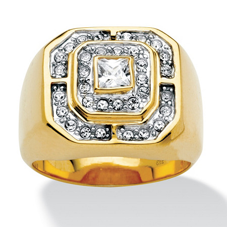 Men's .87 TCW Square-Cut and Round Cubic Zirconia 18k Gold over Sterling Silver Octagon Ring