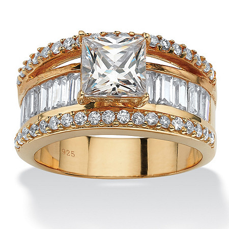3.63 TCW Emerald-Cut Cubic Zirconia 18k Gold over Sterling Silver Engagement/Anniversary Ring