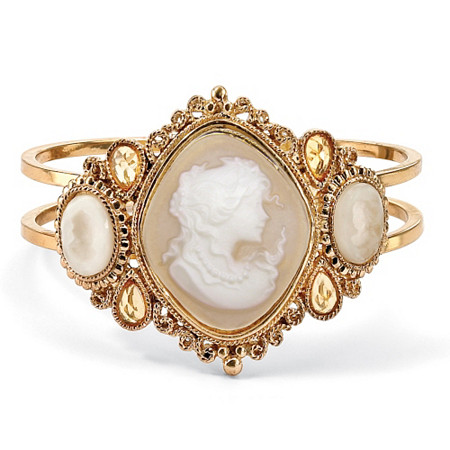 Vintage Style Cameo Hinged Bangle Bracelet in Yellow Gold Tone 7 1/2