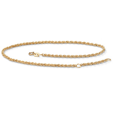 10k Yellow Gold Tailored Rope Ankle Bracelet Adjustable 9 to 10