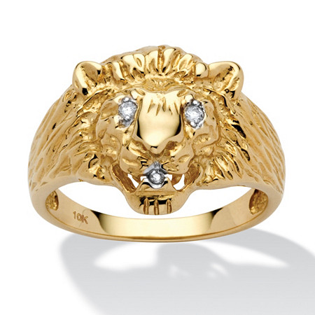 Men's Diamond Accent 10k Yellow Gold Lion's Head Ring