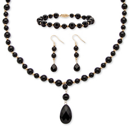 Round Genuine Onyx 10k Yellow Gold Y Style Beaded Necklace, Bracelet and Drop Earrings Set
