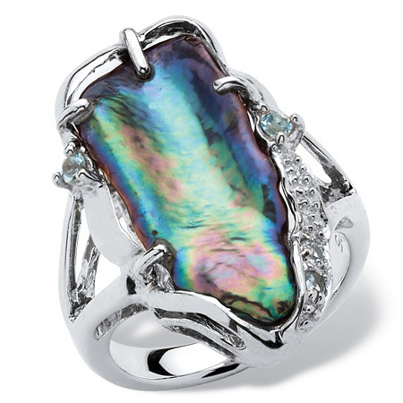 Gray Cultured Freshwater Biwa Pearl with Genuine Blue Topaz Accents Sterling Silver Ring
