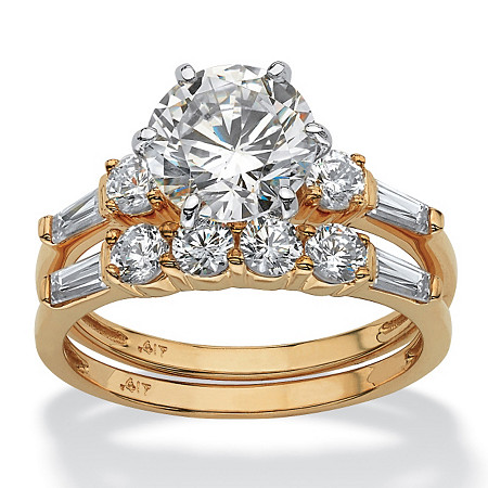 3.60 TCW Round and Marquise-Cut Cubic Zirconia 10k Yellow Gold 2-Piece Bridal Engagement Set