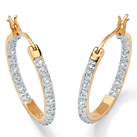 1/10 TCW Round Diamond Accented Inside-Out Hoop Earrings in 18k Yellow Gold over Sterling Silver