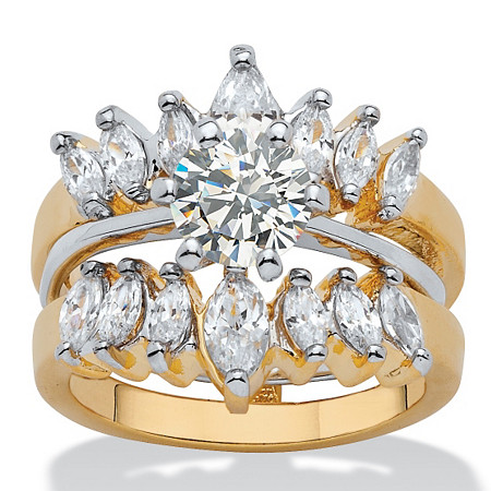 2.95 TCW Round and Marquise-Cut Cubic Zirconia 14k Yellow Gold-Plated Two-Tone Wedding Ring Set