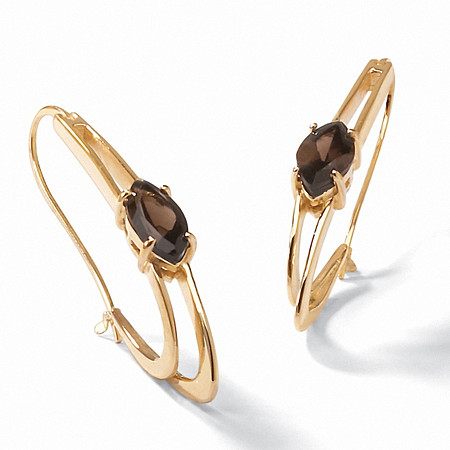 4.90 TCW Marquise-Cut Genuine Smoky Quartz 14k Yellow Gold-Plated Oblong Hoop Earrings