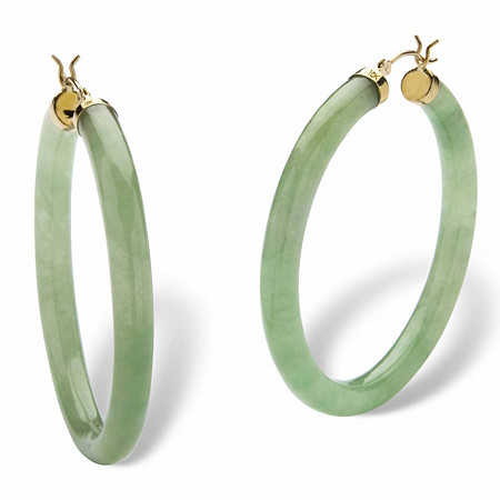 Genuine Green Jade 10k Yellow Gold Hoop Earrings