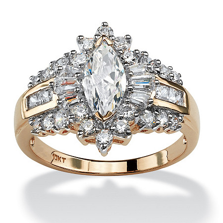 2.19 TCW Marquise-Cut, Baguette-Cut and Round Cubic Zirconia 10k Yellow Gold Engagement Ring