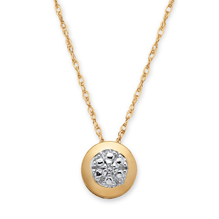 Round Diamond Accented Slide Pendant in 10k Gold
