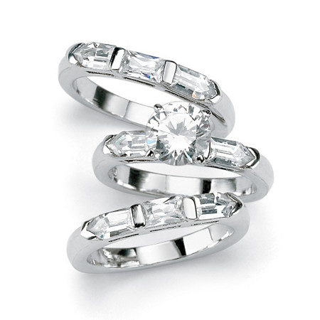 5.31 TCW Round Cubic Zirconia Sterling Silver 3-Piece Bridal Engagement Ring Wedding Band Set