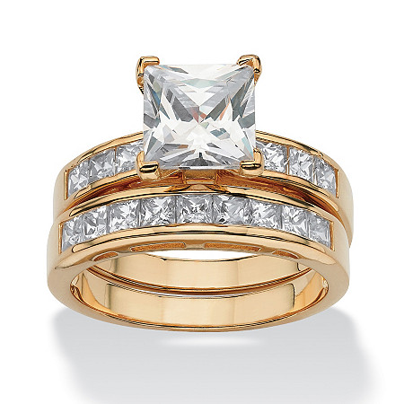 3.65 TCW Princess-Cut Cubic Zirconia 18k Yellow Gold over Sterling Silver 2-Piece Wedding Ring Set