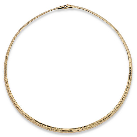 Omega Link Choker Necklace in Yellow Gold Tone 16