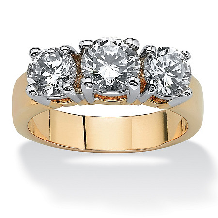2.28 TCW Round Cubic Zirconia 14k Yellow Gold-Plated Triple-Stone Anniversary Ring
