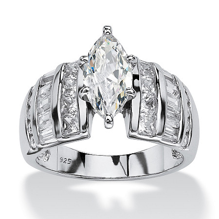 3.87 TCW Marquise-Cut Cubic Zirconia Platinum over Sterling Silver Engagement Anniversary Ring