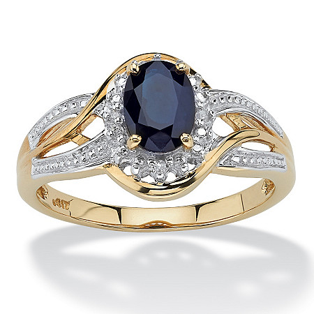 10k Yellow Gold Oval Blue Sapphire and Round Diamond Accent Ring