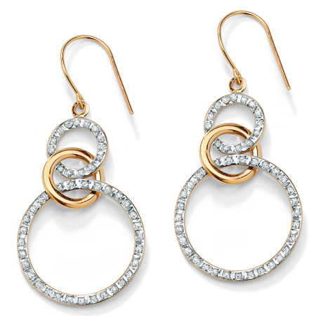 1/10 TCW Diamond Accent 14k Gold Diamond Fascination Eternity Drop Earrings