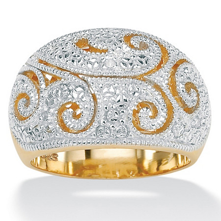 Diamond Accent 18k Yellow Gold Over Sterling Silver Dome Ring