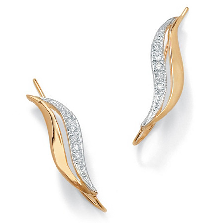 Burnish-Set Diamond Accent Ear Pins in 10k Gold