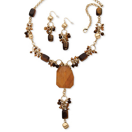 2 Piece Genuine Quartz and Genuine Tiger's Eye Y Necklace and Drop Earrings Set Yellow Gold Tone