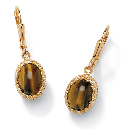 Oval-Shaped Genuine Tiger's Eye Cabochon 14k Yellow Gold-Plated Drop Earrings