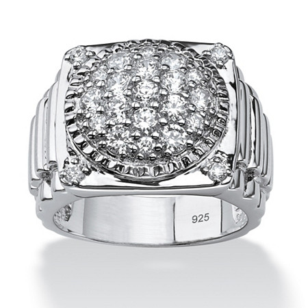 Men's 1.63 TCW Round Cubic Zirconia Platinum Over Sterling Silver Cluster Ring