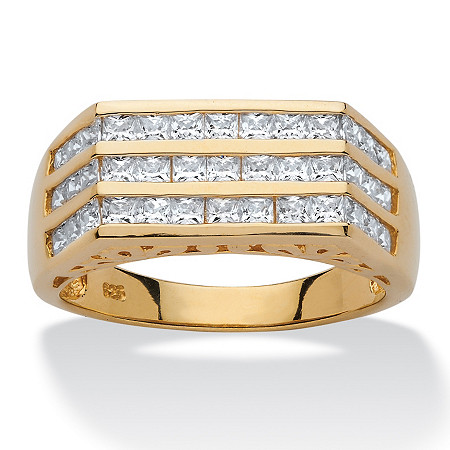 Men's 1.56 TCW Square Cubic Zirconia 18k Yellow Gold Over Sterling Silver Triple-Row Ring