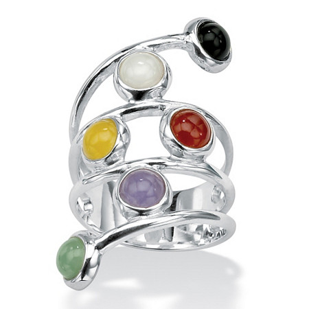 Round Multi-Color Jade Sterling Silver Ring