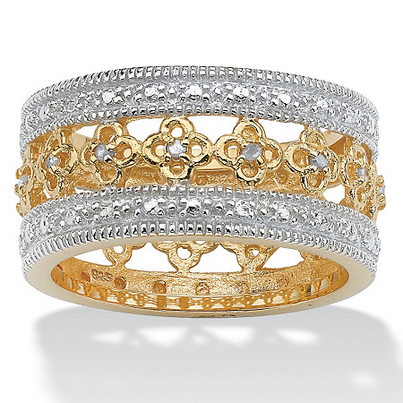 1/8 TCW Round Diamond 18k Yellow Gold over Sterling Silver Filigree Flower Motif Eternity Band