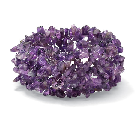 Nugget-Cut Genuine Amethyst Stretch Bracelet 7