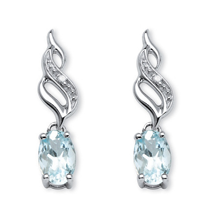 .81 TCW Oval-Cut Genuine Aquamarine with Diamond Accents Drop Earrings in 10k White Gold