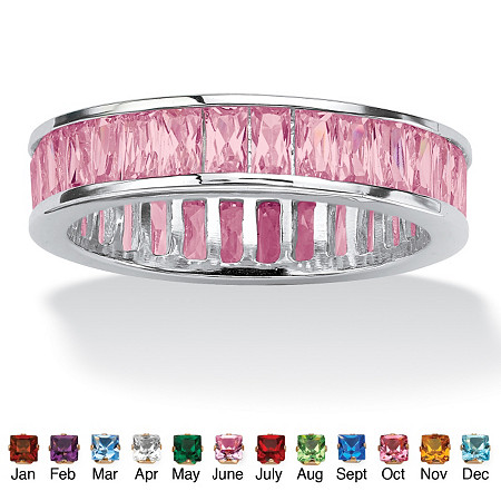 Emerald-Cut Simulated Birthstone Sterling Silver Eternity Band
