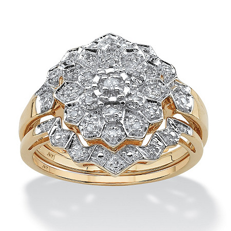 1/7 TCW Pave Diamond Bridal Ring Set in 10k Gold