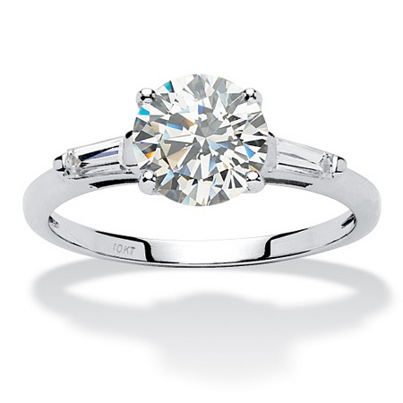 1.78 TCW Round Cubic Zirconia Anniversary Engagement Ring in 10k White Gold