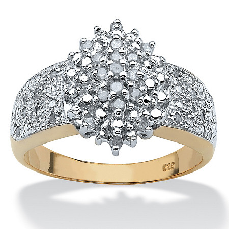 1/4 TCW Round Diamond 18k Yellow Gold Over Sterling Silver Marquise-Shaped Cluster Ring