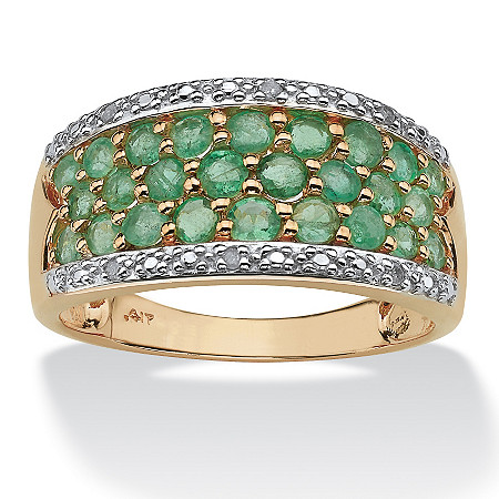 1.07 TCW Round Genuine Emerald with Diamond Accents 10k Yellow Gold Ring