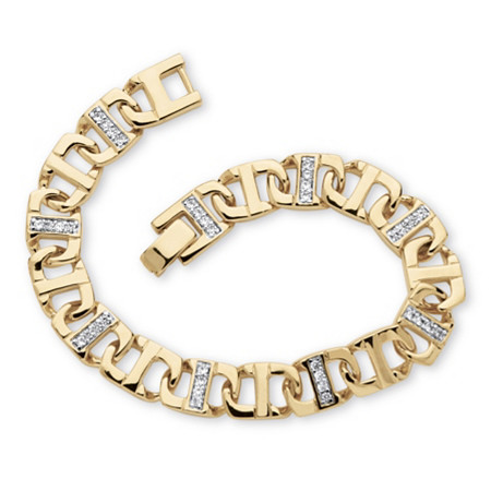 Men's 1.19 TCW Round Cubic Zirconia 14k Yellow Gold-Plated Mariner-Link Bracelet 8