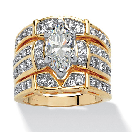 3.05 TCW Marquise-Cut Cubic Zirconia 18k Yellow Gold over Sterling Silver Bridal Engagement Set