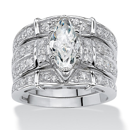3.05 TCW Marquise-Cut Cubic Zirconia Bridal Ring Set in Sterling Silver