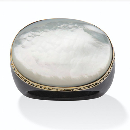 Oval-Shaped Genuine Mother-Of-Pearl and Genuine Black Jade 14k Yellow Gold Greek Key Ring