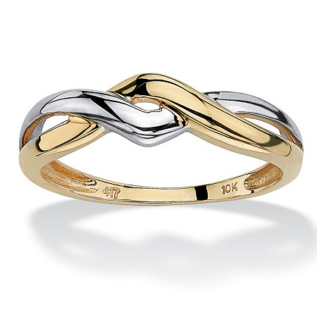 10k Yellow Gold Two-Tone Twist Ring