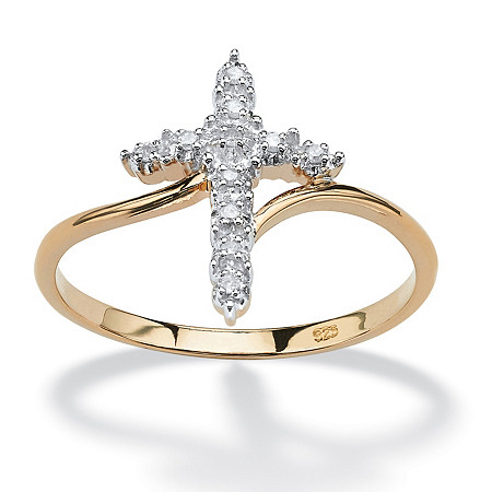 Round Diamond 18k Yellow Gold Over Sterling Silver Cross Ring