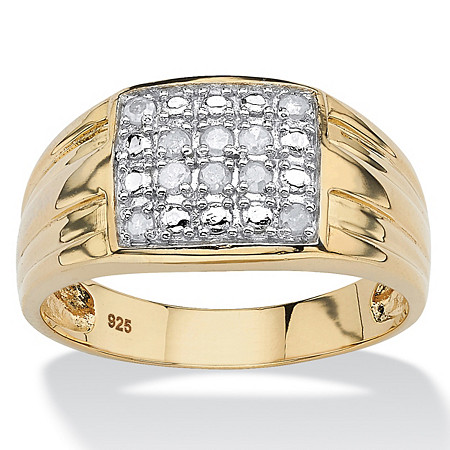 Men's 1/4 TCW Round Diamond Pave 18k Yellow Gold over Sterling Silver Ring