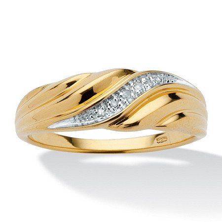 Men's Diamond Accent 18k Yellow Gold Over Sterling Silver Swirled Wedding Band Ring