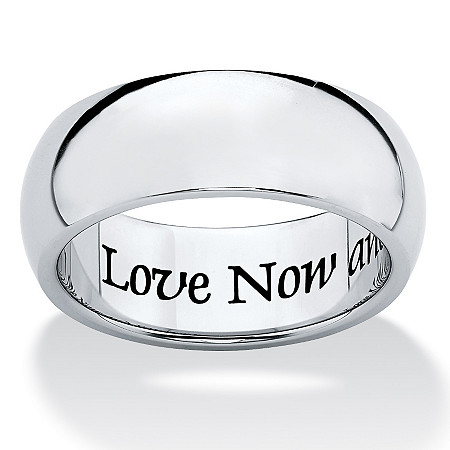 Stainless Steel Inspirational Message Wedding Band Ring 7mm