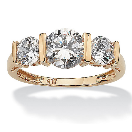 2.50 TCW Round Cubic Zirconia 10k Gold 3-Stone Bridal Engagement Ring