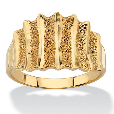 18k Gold over Sterling Silver Textured Vertical-Row Concave Ring