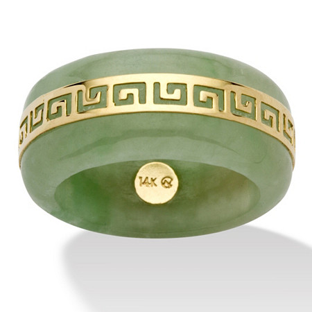Genuine Green Jade 14k Yellow Gold Greek Key Ring